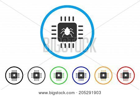 Hardware Bug rounded icon. Style is a flat hardware bug grey symbol inside light blue circle with black, gray, green, blue, red, orange versions. Vector designed for web and software interfaces.