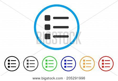 Items rounded icon. Style is a flat items grey symbol inside light blue circle with black, gray, green, blue, red, orange variants. Vector designed for web and software interfaces.