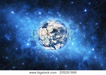3d illustration of earth. View from space. Elements of this image furnished by NASA