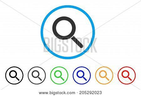 Locate rounded icon. Style is a flat locate gray symbol inside light blue circle with black, gray, green, blue, red, orange color versions. Vector designed for web and software interfaces.
