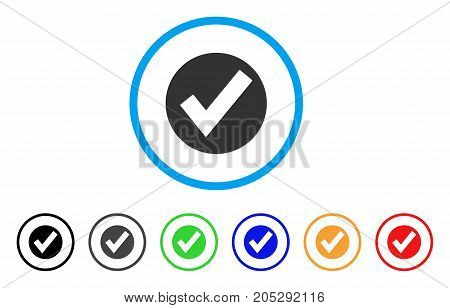 Ok rounded icon. Style is a flat ok gray symbol inside light blue circle with black, gray, green, blue, red, orange versions. Vector designed for web and software interfaces.