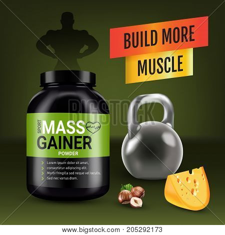 Mass gainer ads. Vector realistic illustration of cans with mass gainer powder with flavored nuts and cheese. Poster with product and sport equipment.