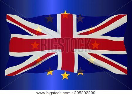 The British Union Flag over an EU flag