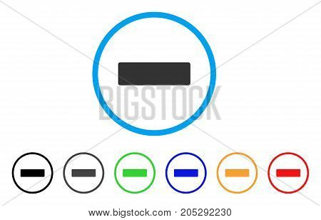 Remove rounded icon. Style is a flat remove grey symbol inside light blue circle with black, gray, green, blue, red, orange versions. Vector designed for web and software interfaces.