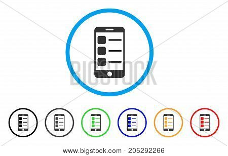 Smartphone List rounded icon. Style is a flat smartphone list gray symbol inside light blue circle with black, gray, green, blue, red, orange versions. Vector designed for web and software interfaces.