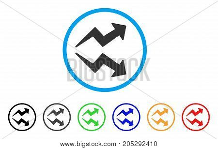 Trends rounded icon. Style is a flat trends gray symbol inside light blue circle with black, gray, green, blue, red, orange variants. Vector designed for web and software interfaces.