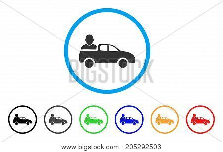Car Passenger rounded icon. Style is a flat car passenger gray symbol inside light blue circle with black, gray, green, blue, red, orange color versions.