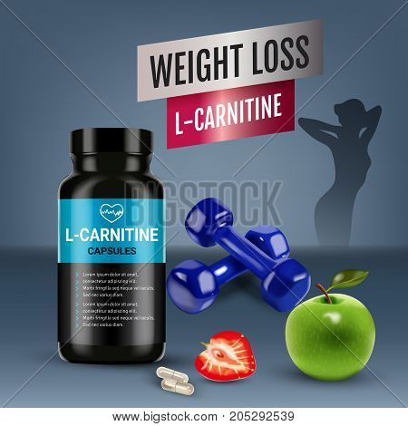 Weight loss L-Carnitine ads. Vector realistic illustration of cans with capsules with cellulose of strawberry and green apple. Poster with product and sports equipment.