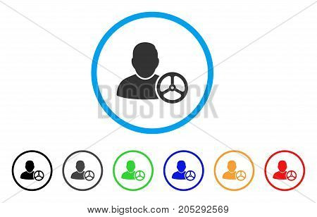 Driver Wheel rounded icon. Style is a flat driver wheel gray symbol inside light blue circle with black, gray, green, blue, red, orange color versions. Vector designed for web and software interfaces.