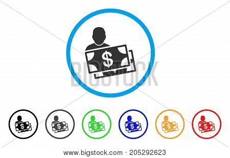 Investor rounded icon. Style is a flat investor grey symbol inside light blue circle with black, gray, green, blue, red, orange variants. Vector designed for web and software interfaces.