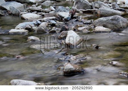 rocky is a beautiful, clear mountain river , closeup