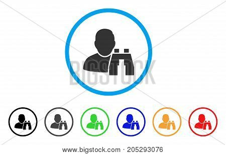 User Binoculars Search Tool rounded icon. Style is a flat user binoculars search tool grey symbol inside light blue circle with black, gray, green, blue, red, orange color versions.