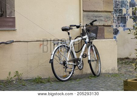 A bicycle parked in the city of Strasbourg