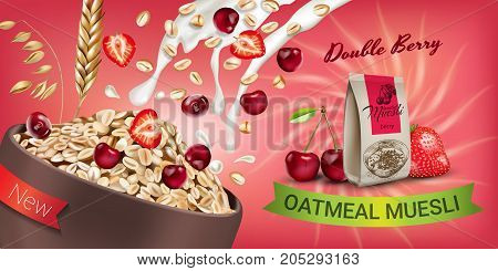 Oatmeal muesli ads. Vector realistic illustration of oatmeal muesli with double berry. Horizontal banner with product.