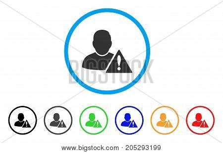 User Error rounded icon. Style is a flat user error grey symbol inside light blue circle with black, gray, green, blue, red, orange versions. Vector designed for web and software interfaces.