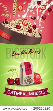Oatmeal muesli ads. Vector realistic illustration of oatmeal muesli with double berry. Vertical banner with product.