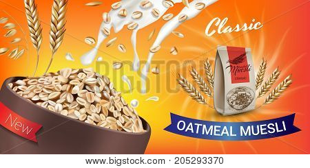 Oatmeal muesli ads. Vector realistic illustration of oatmeal muesli. Horizontal banner with product.