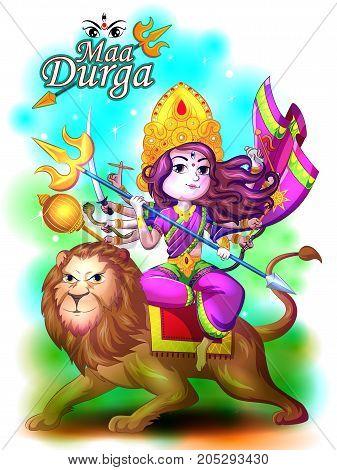 Happy Durga Puja festival India holiday background. Vector illustration
