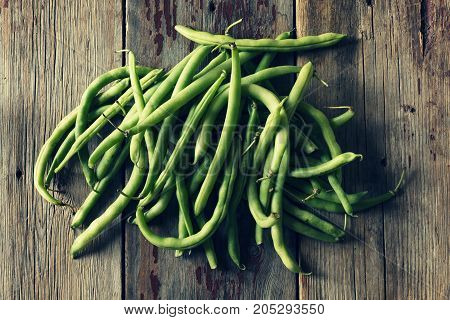 String Beans On A Wooden Table