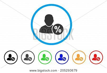 User Tax Percent rounded icon. Style is a flat user tax percent grey symbol inside light blue circle with black, gray, green, blue, red, orange versions.