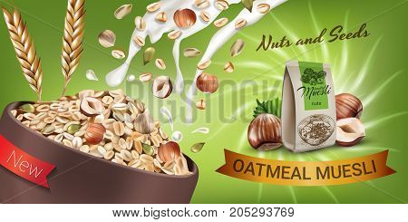 Oatmeal muesli ads. Vector realistic illustration of oatmeal muesli with nuts and seeds. Horizontal banner with product.
