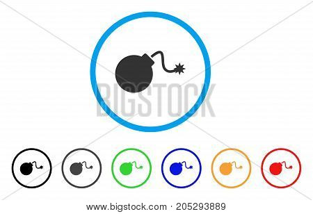 Bomb rounded icon. Style is a flat bomb grey symbol inside light blue circle with black, gray, green, blue, red, orange variants. Vector designed for web and software interfaces.