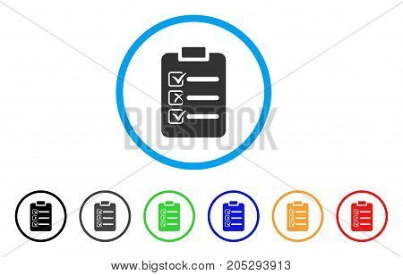 Check List rounded icon. Style is a flat check list grey symbol inside light blue circle with black, gray, green, blue, red, orange color versions. Vector designed for web and software interfaces.