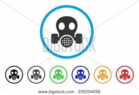 Gas Mask rounded icon. Style is a flat gas mask gray symbol inside light blue circle with black, gray, green, blue, red, orange versions. Vector designed for web and software interfaces.