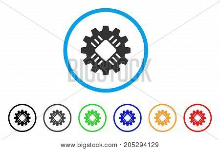 Hardware Gear rounded icon. Style is a flat hardware gear gray symbol inside light blue circle with black, gray, green, blue, red, orange versions. Vector designed for web and software interfaces.