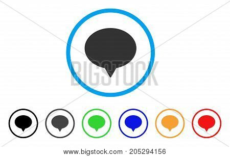 Hint rounded icon. Style is a flat hint grey symbol inside light blue circle with black, gray, green, blue, red, orange versions. Vector designed for web and software interfaces.