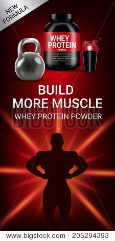 Protein cocktail ads. Vector realistic illustration of cans and shake with whey protein powder. Vertical banner with product and sports equipment.