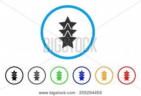 Rating Stars rounded icon. Style is a flat rating stars grey symbol inside light blue circle with black, gray, green, blue, red, orange color versions. Vector designed for web and software interfaces.