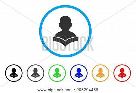 Reader Student rounded icon. Style is a flat reader student grey symbol inside light blue circle with black, gray, green, blue, red, orange versions. Vector designed for web and software interfaces.