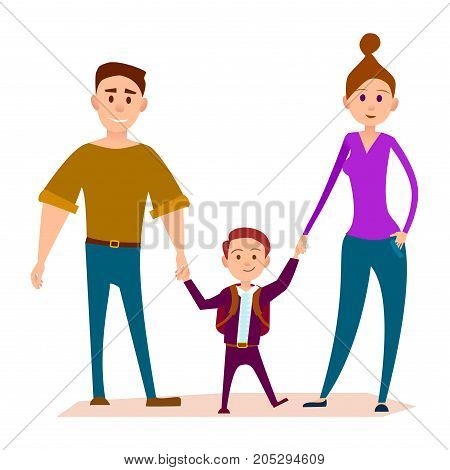 Little kid stands with heavy daddy and slim mom and keeps hands vector illustration. Small school boy with knapsack, love in family concept