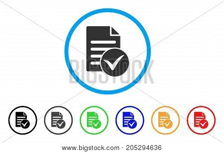 Test Page rounded icon. Style is a flat test page grey symbol inside light blue circle with black, gray, green, blue, red, orange color versions. Vector designed for web and software interfaces.