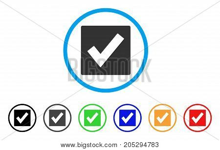 Valid rounded icon. Style is a flat valid gray symbol inside light blue circle with black, gray, green, blue, red, orange color versions. Vector designed for web and software interfaces.