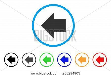 Arrow Left rounded icon. Style is a flat arrow left gray symbol inside light blue circle with black, gray, green, blue, red, orange variants. Vector designed for web and software interfaces.