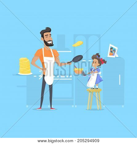 Hilarious father and daughter preparing pancakes in kitchen. Vector illustration of dad holding pan and daughter stands on stool, keeping bowl with ladle, photo and huge pile of pancakes behind