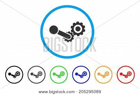 Engine rounded icon. Style is a flat engine gray symbol inside light blue circle with black, gray, green, blue, red, orange variants. Vector designed for web and software interfaces.