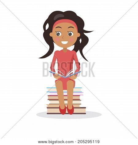 Brunette young girl in dress with open textbook sits on pile of books vector illustration in concept of International Literacy Day isolated on white poster