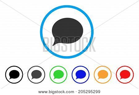 Hint Balloon rounded icon. Style is a flat hint balloon gray symbol inside light blue circle with black, gray, green, blue, red, orange versions. Vector designed for web and software interfaces.