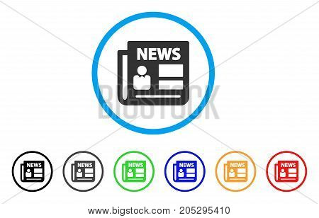 News rounded icon. Style is a flat news grey symbol inside light blue circle with black, gray, green, blue, red, orange versions. Vector designed for web and software interfaces.
