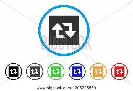 Refresh Arrows rounded icon. Style is a flat refresh arrows grey symbol inside light blue circle with black, gray, green, blue, red, orange versions. Vector designed for web and software interfaces.