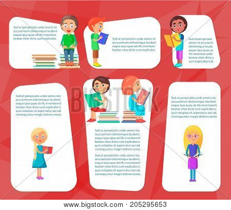 Reading children sitting on heap of literature and standing with colored textbooks vector illustration on red background.