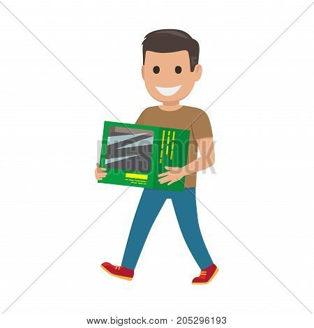 Boy goes and carries green box on white background. Family shopping day. Cartoon boy has fun during shopping at mall. Shopping-themed isolated vector illustration of male character with purchase.