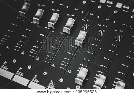 Sound mixer control for live music and studio equipment.