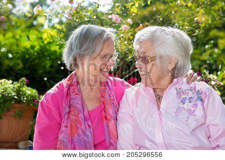 Two Happy Senior Women Chatting In Garden