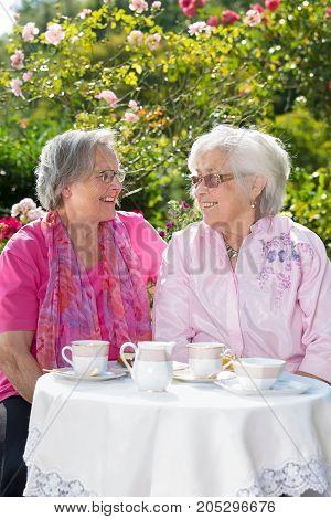 Two Senior Smiling Women Having Tea In Garden