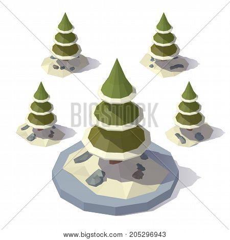 Vector isometric low poly Christmas tree in a snowdrift. Tree from different angles.