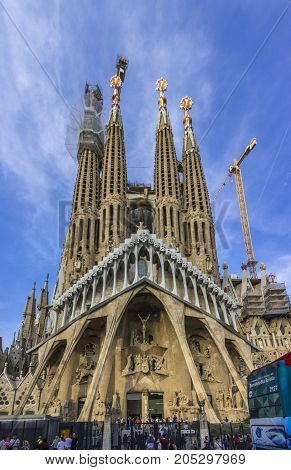 Barcelona, Spain. September 2017:sagrada Familia Catholic Church In Barcelona, Catalonia